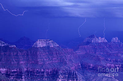 Photograph - Lightning Strkes At The North Rim Grand Canyon National Park by Dave Welling