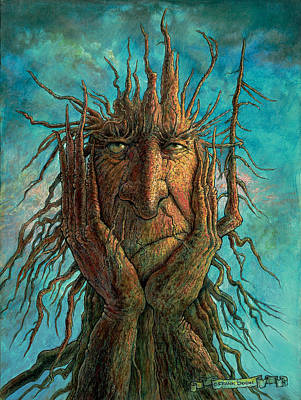 Tree Creature Painting - Lightninghead by Frank Robert Dixon