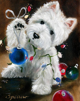 Westie Terrier Painting - Lights And Balls by Mary Sparrow