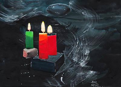 Rain Drawing - Lights by Anil Nene