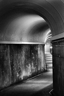 Photograph - Lights At The End Of The Tunnel In Black And White by Nadalyn Larsen