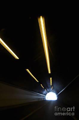 Lights Inside A Highway Tunnel Art Print