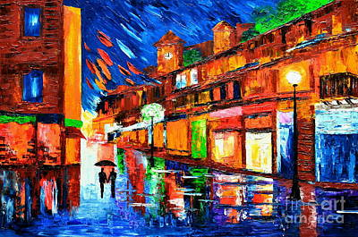 Store Fronts Painting - Lights Of Love by Mariana Stauffer
