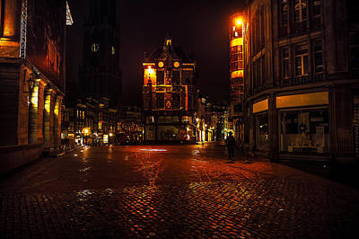 Lights Of Night Utrecht. Netherlands Art Print by Jenny Rainbow