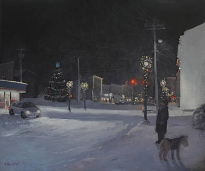 Saugerties Painting - Lights On Main Street by Nancy Campbell