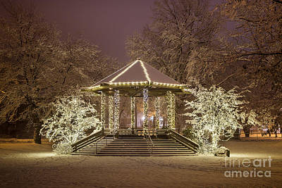 Christmas Holiday Scenery Photograph - Lights On The Gazebo by Benjamin Williamson