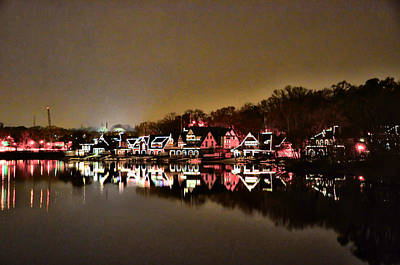 Boathouse Row Digital Art - Lights On The Schuylkill River by Bill Cannon