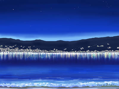Seascape Digital Painting - Lights On Water by Veronica Minozzi