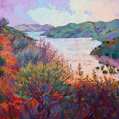 Peaceful Landscape Painting - Lights On Whale Rock by Erin Hanson