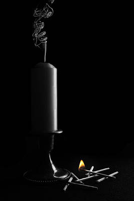 Candle Stand Photograph - Lights Out Still Life by Tom Mc Nemar