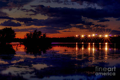 Lights Over Willow Lake At Sunset Original