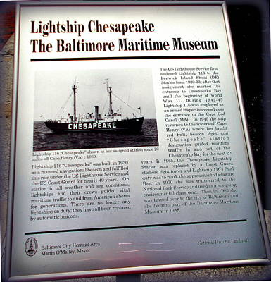 Photograph - Lightship Chesapeake Sign by Pamela Hyde Wilson