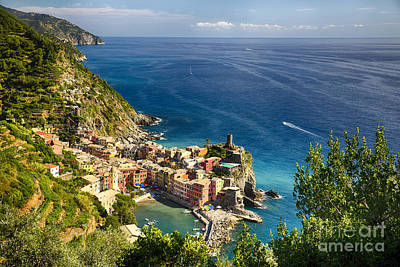 Ligurian Coast View At Vernazza Art Print by George Oze
