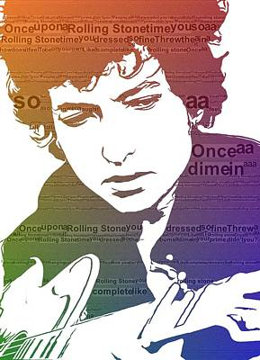 Free Mixed Media - Like A Rolling Stone Bob Dylan by Dan Sproul