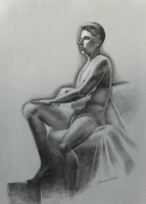 Nude Old Men Drawing - Like A Statue by Janaka Ruiz