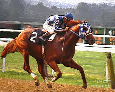 Horse Racing Painting - Like A Tremendous Machine by G Cannon