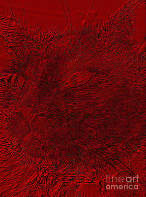 Digital Art - Like Red. Cat Face. Portrait by Oksana Semenchenko