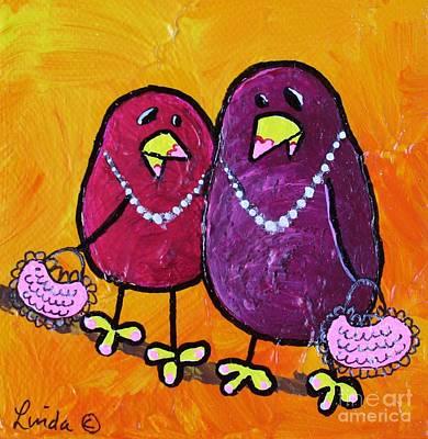 Yellow Beak Mixed Media - Like Mother Like Daughter by LimbBirds Whimsical Birds