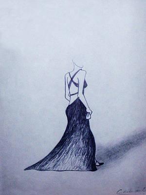 Drawing - Lil' Black Dress by Cynthia Hilliard