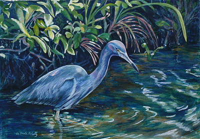 Little Master Painting - Lil' Blue Looking For Lunch by Susan Duda