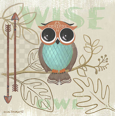 Lil Boys Owl Art Print by Anita Phillips