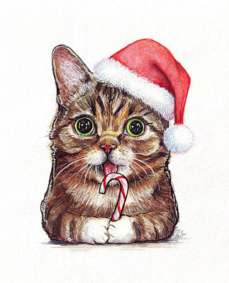 Watercolor Pet Portraits Painting - Cat Santa Christmas Animal by Olga Shvartsur