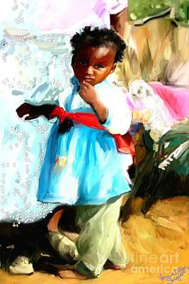 Art Print featuring the painting Lil Girl  by Vannetta Ferguson