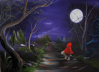 Painting - Lil Red Riding Hood by RJ McNall