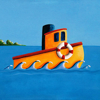 Harbor Painting - Lil Tugboat by Cindy Thornton
