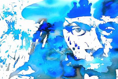 Music Paintings - Lil Wayne Blue Paint Splatter by Dan Sproul