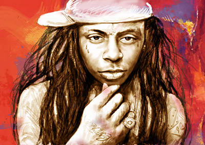 Artist Mixed Media - Lil Wayne - Stylised Drawing Art Poster by Kim Wang