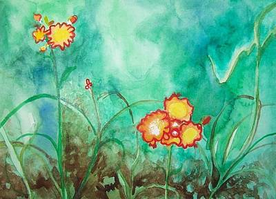 Painting - Lil Yellow Blooms by Liz Adkinson