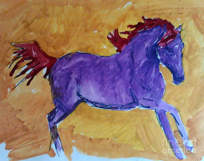 Painting - Lila Mustang by Patries Van Dokkum