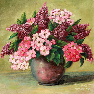 Painting - Lilac And Phlox Bouquet by Pattie Calfy