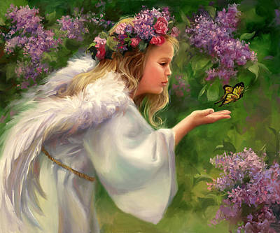 Wreath Painting - Lilac Angel by Laurie Hein
