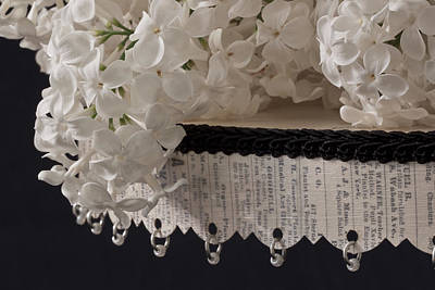 Lilac Photograph - Lilac Blossoms On Beaded Music Pedestal by Sandra Foster
