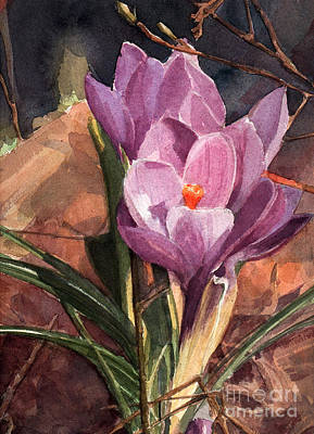 Painting - Lilac Crocuses by Greta Corens