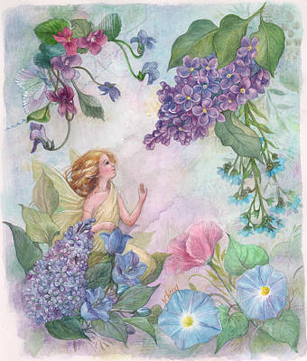Art Print featuring the painting Lilac Enchanting Flower Fairy by Judith Cheng