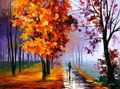 Lilac Fog - Palette Knife Oil Painting On Canvas By Leonid Afremov Original by Leonid Afremov