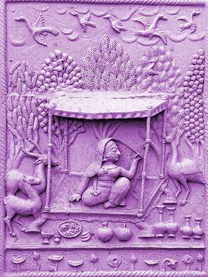 Hindu Mythology Photograph - Lilac Fresco Queen Palanquin 2 Udaipur Rajasthan India by Sue Jacobi