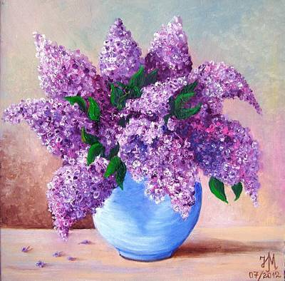 Art Print featuring the painting Lilac by Nina Mitkova