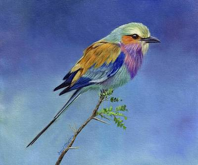 Animals Paintings - Lilacbreasted Roller by David Stribbling