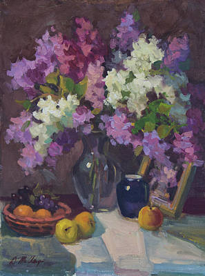 Painting - Lilacs And Blue Vase by Diane McClary