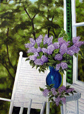 Lilacs And Wicker Art Print by Zelma Hensel