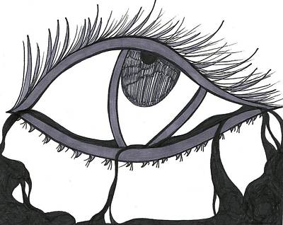 Tears Drawing - Lilac's Eye by Angie Oviedo