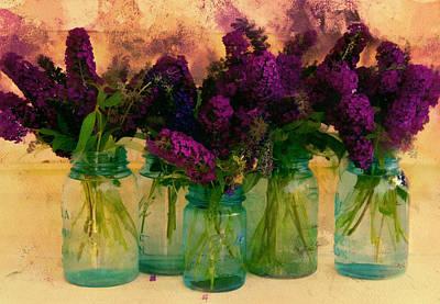 Butterfly Bush In Jars Art Print by Bernie  Lee