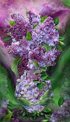 Mixed Media - Lilacs In Lilac Vase by Carol Cavalaris