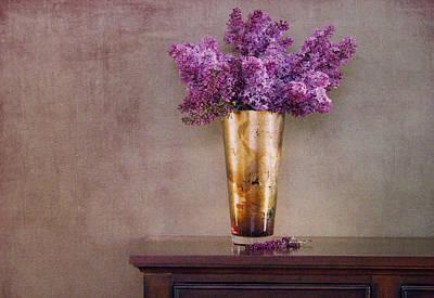 Lilacs In Vase 1 Art Print by Rebecca Cozart