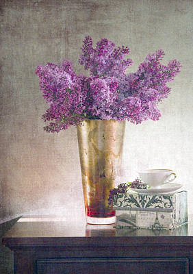 Lilacs In Vase 2 Art Print by Rebecca Cozart