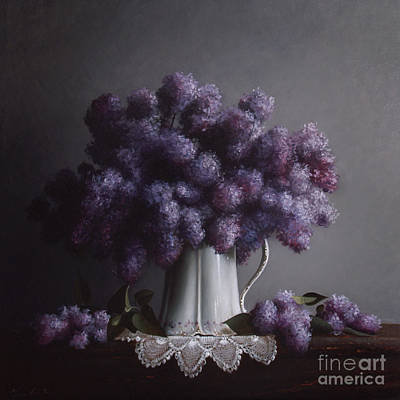 Pitcher Painting - Lilacs Study No.2 by Larry Preston